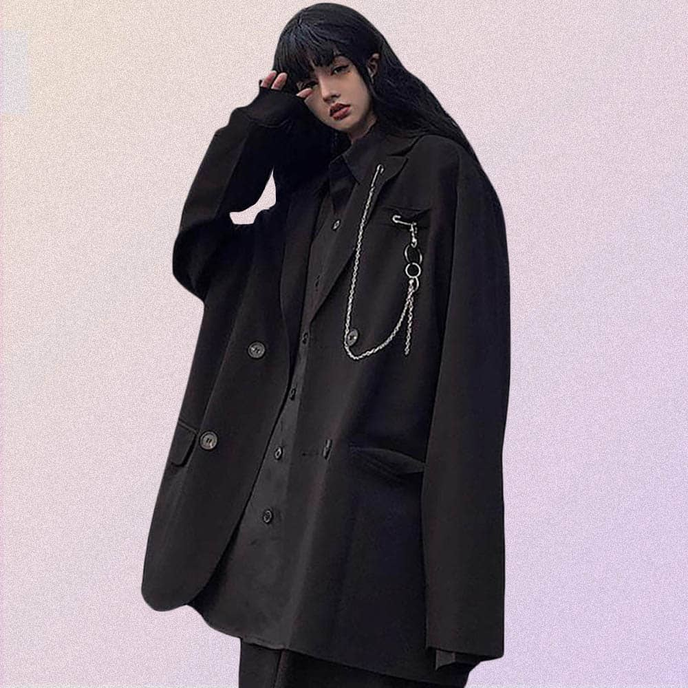 VINTAGE AESTHETIC OVERSIZED CLASSIC JACKET WITH CHAIN