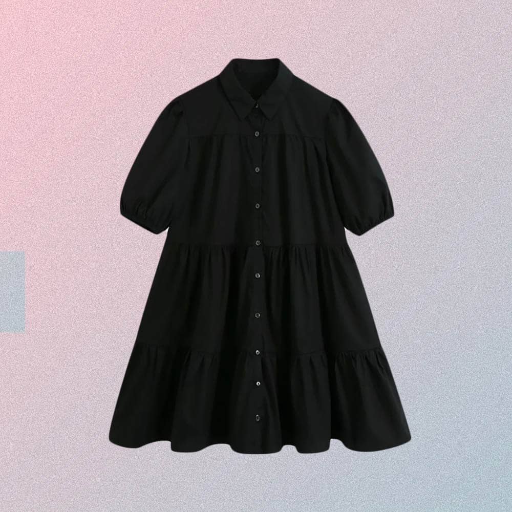 VINTAGE TURN DOWN COLLAR RUFFLE DRESS