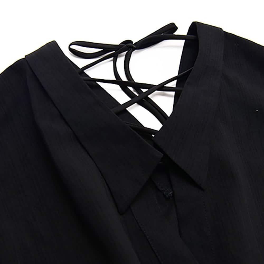 BLACK LONG SLEEVE SHIRT DRESS LACE UP BACK