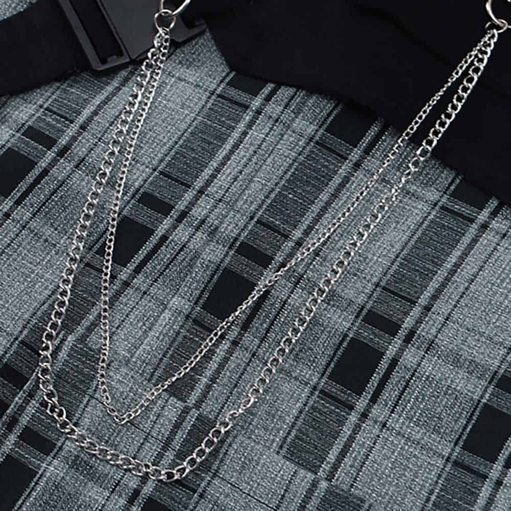 STREETWEAR AESTHETIC PLAID OVERSIZED JACKET WITH CHAINS м