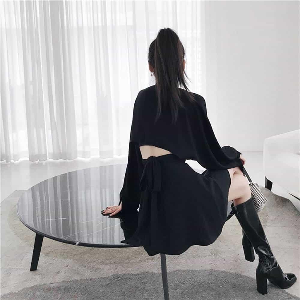 GOTHIC AESTHETIC LONG SLEEVE V-NECK SLIT DRESS