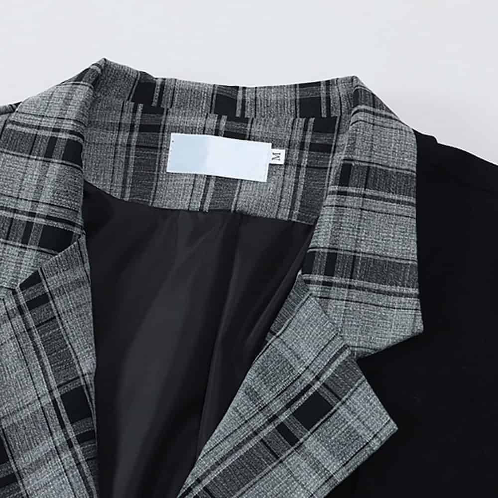 STREETWEAR AESTHETIC PLAID OVERSIZED JACKET WITH CHAINS