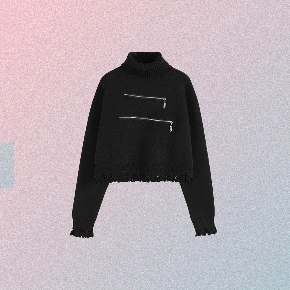 BLACK OVERSIZED KNITTED CROP TURTLENECK WITH ZIPPER