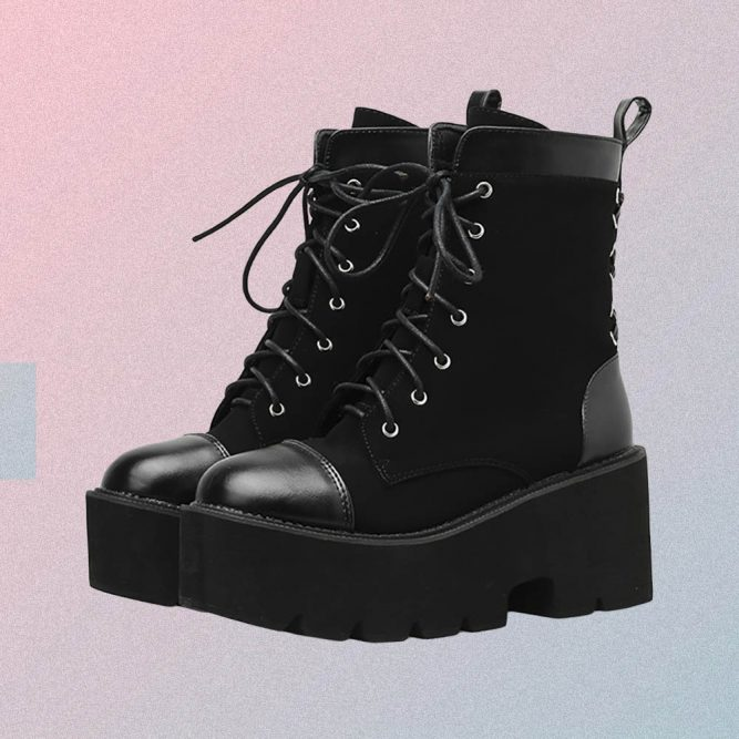 HIGH PLATFORM LACE UP ANKLE BOOTS