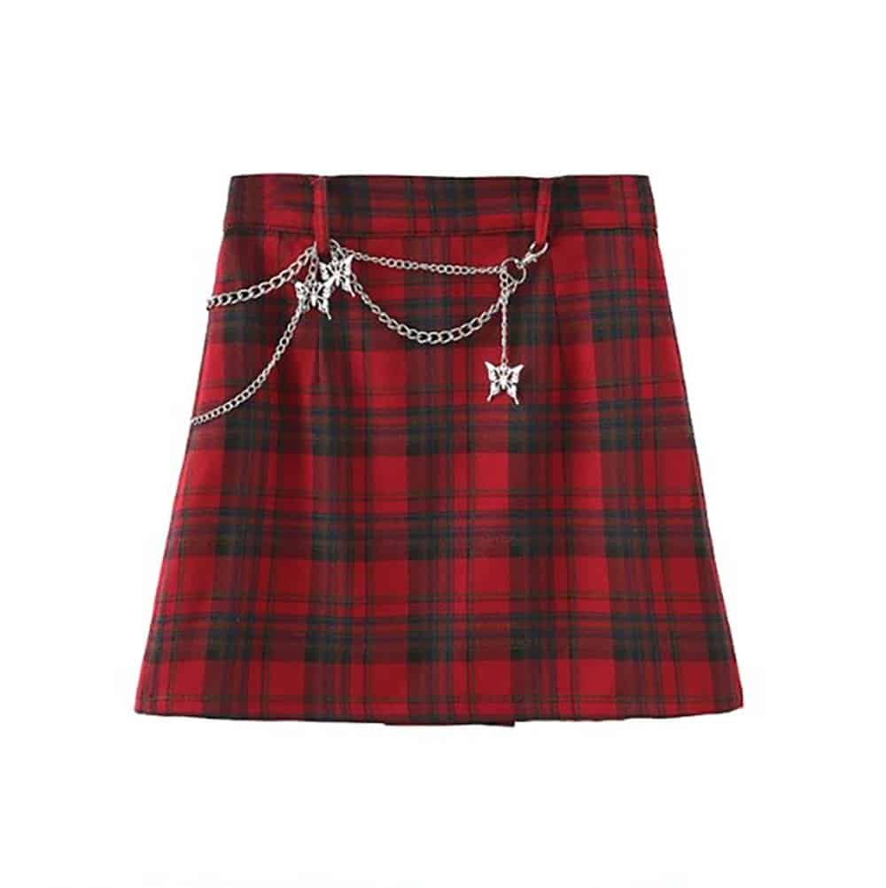 GRUNGE STYLE PLAID PLEATED MINI SKIRT WITH BUTTERFLIES CHAINS