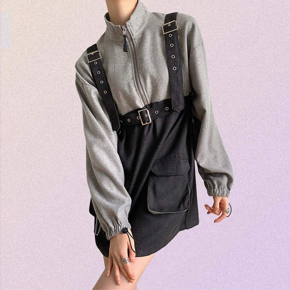 TECHWEAR LONG SLEEVE JUMPSUIT DRESS WITH POCKETS & CHAINS
