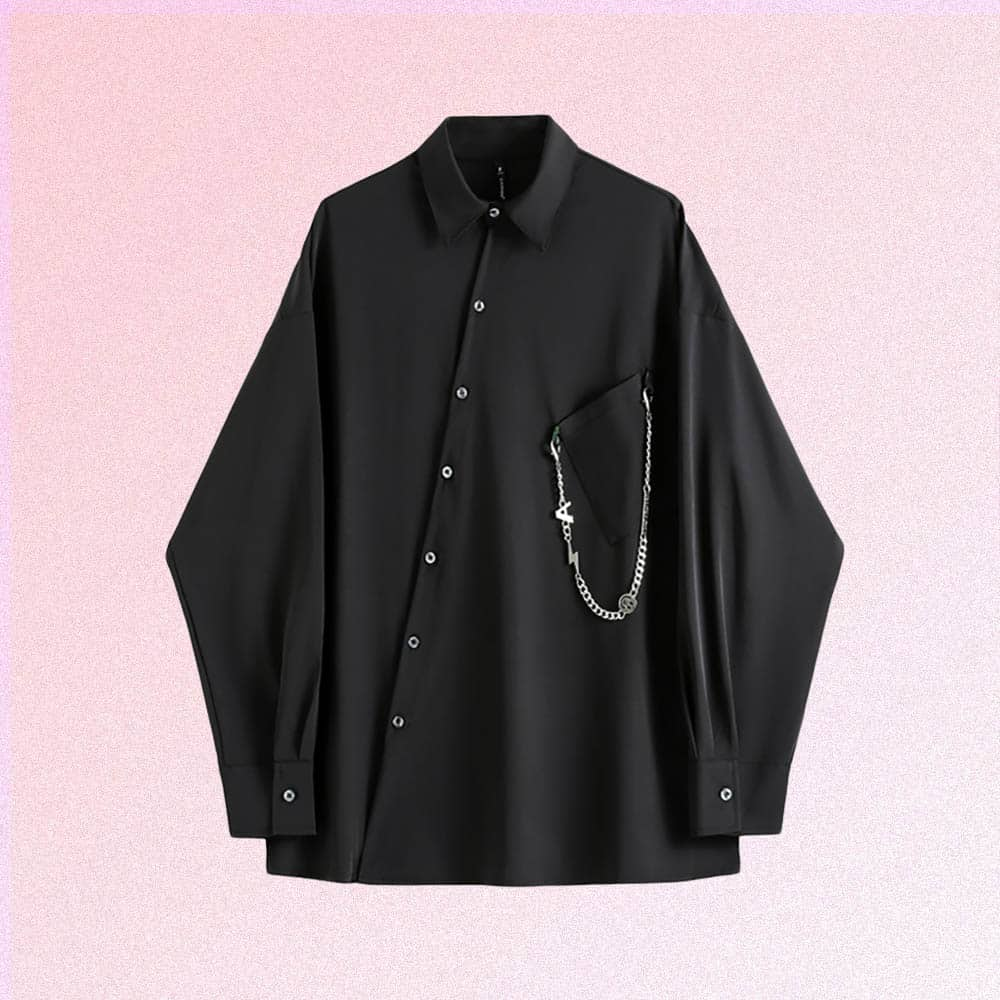 GOTHIC AESTHETIC BLACK SILK SHIRT WITH CHAIN