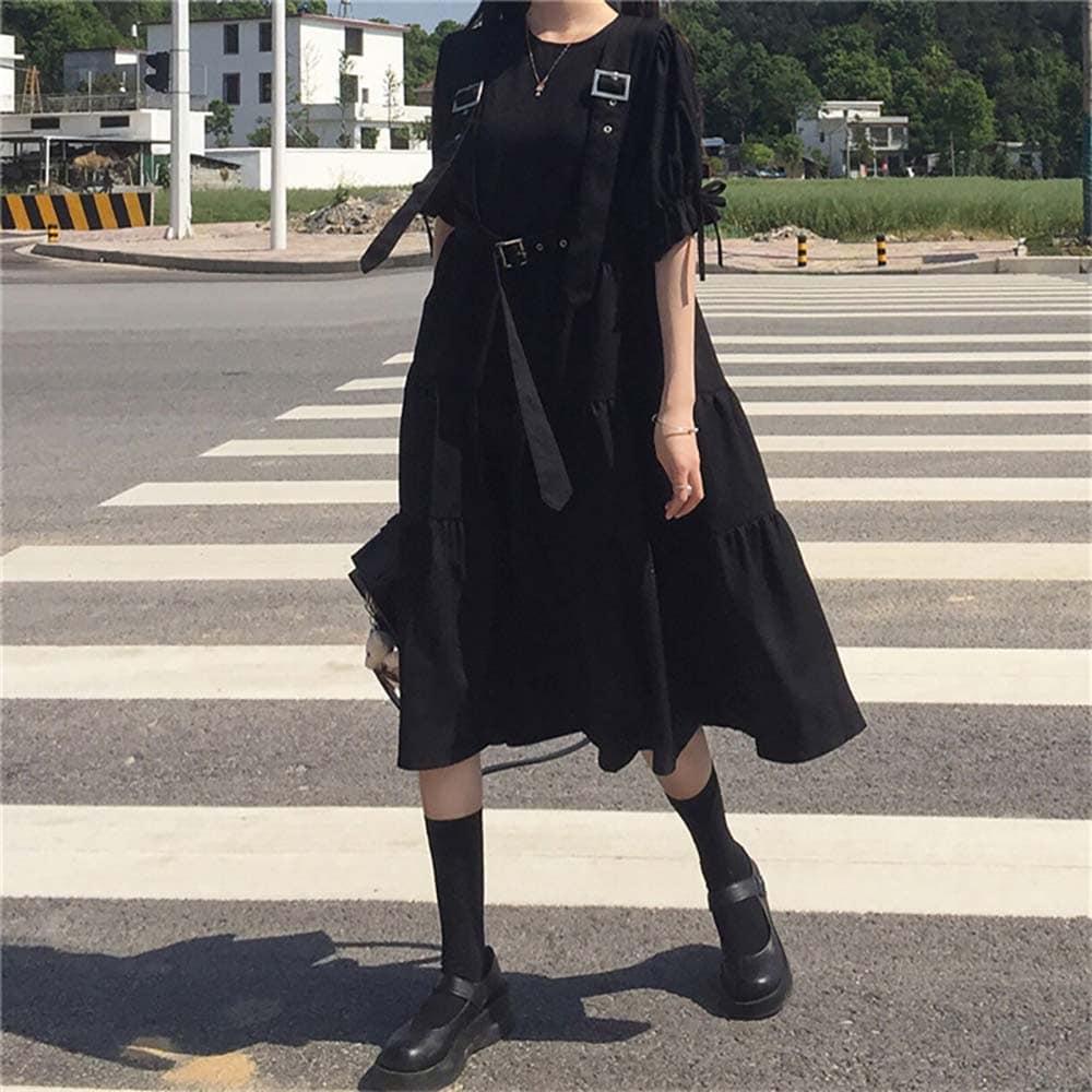 BLACK LONG SLEEVE MIDI DRESS WITH BELTS