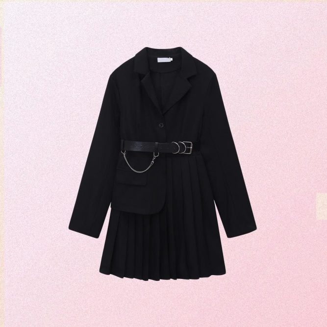 BLACK PLEATED JACKET DRESS WITH BELT & CHAIN