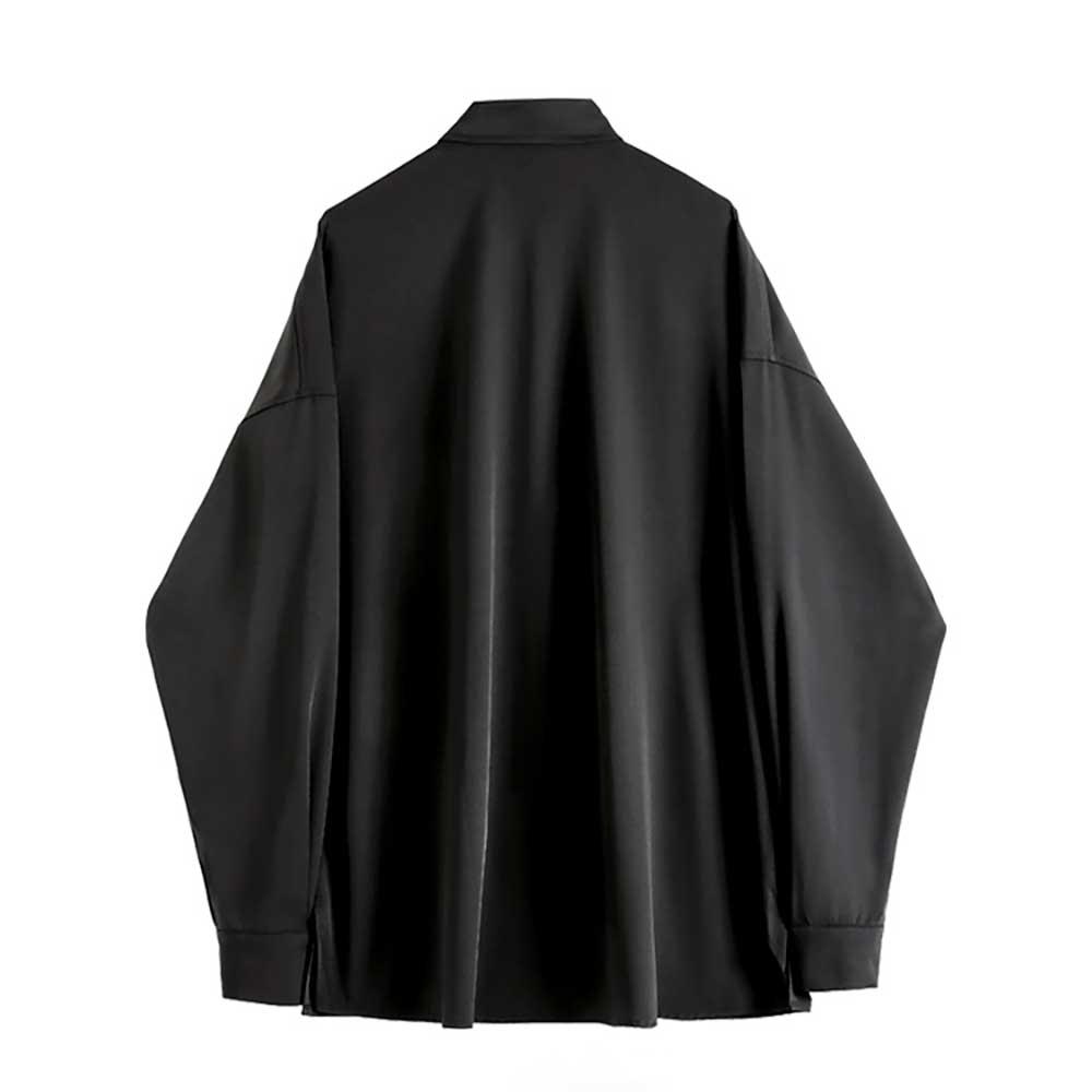 BUTTERFLY CHAINS HARAJUKU STYLE SILK BLACK SHIRT