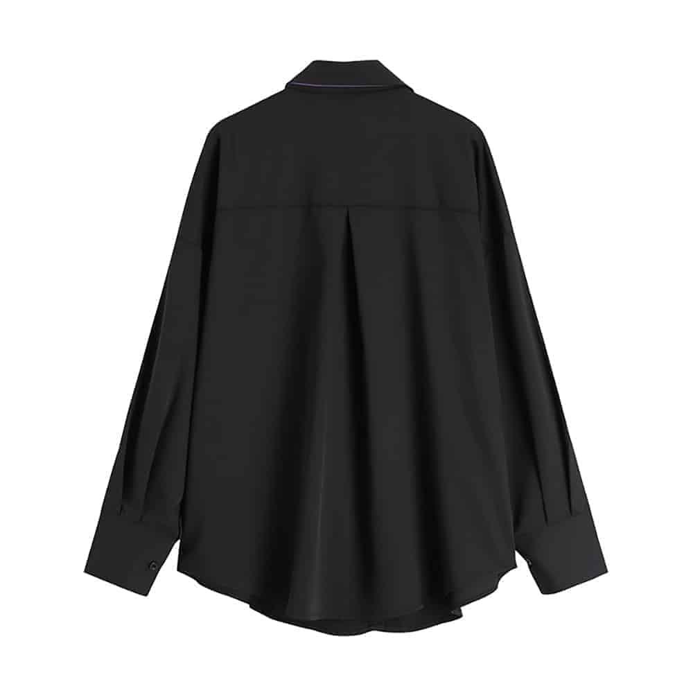 BUTTERFLY EMBROIDERY HARAJUKU STYLE SILK BLACK SHIRT