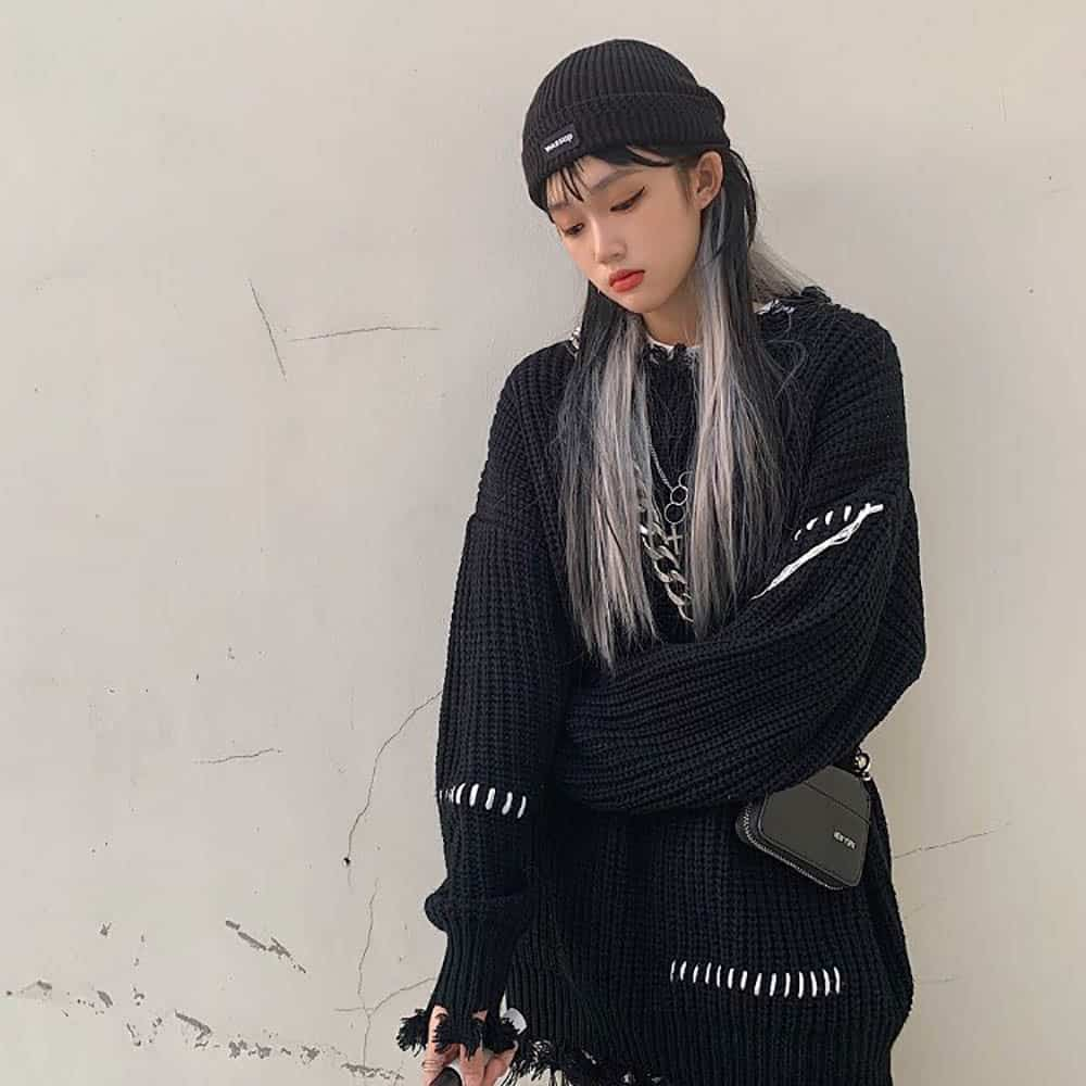 VINTAGE AESTHETIC LONG SLEEVE OVERSIZED KNITTED SWEATER
