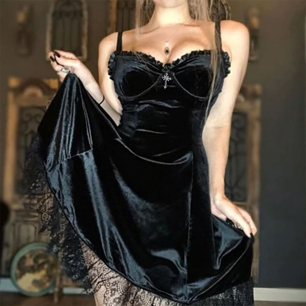 LACE VELOR BLACK PURPLE SLEEVELESS GOTH AESTHETIC DRESS