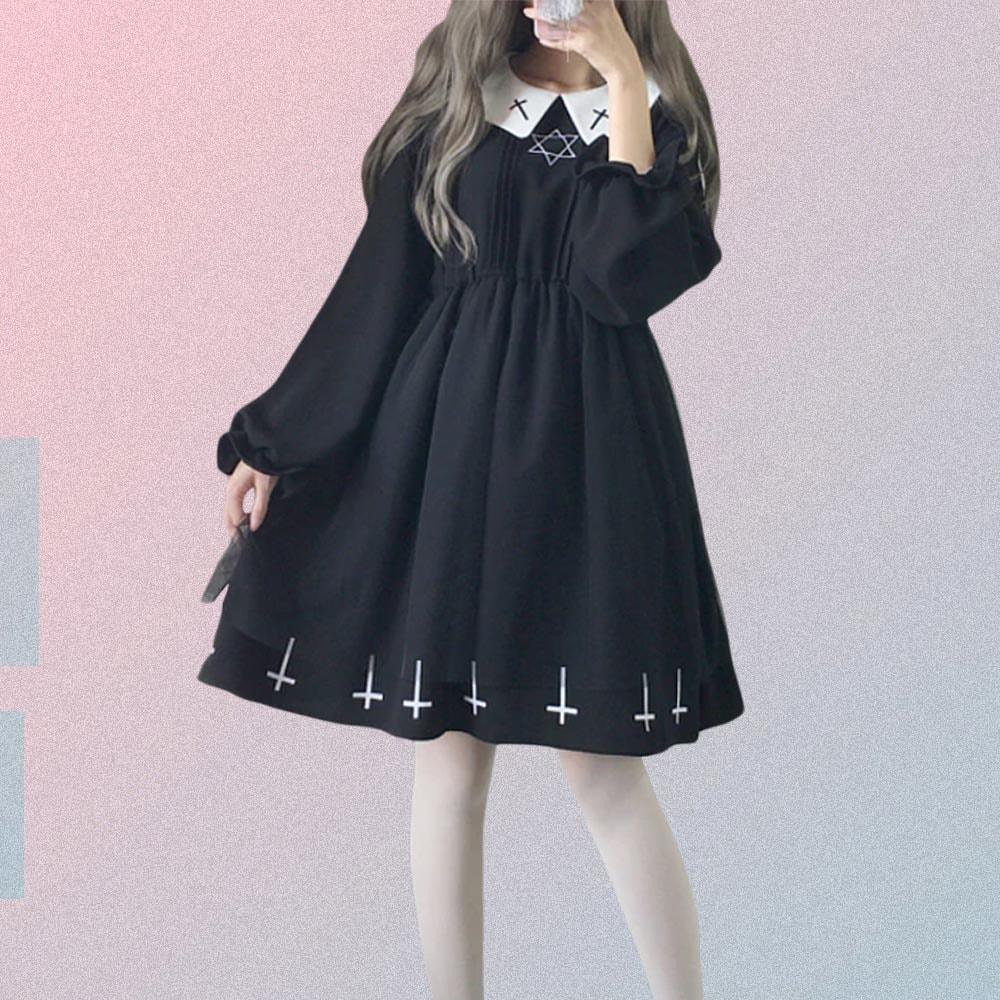 WHITE COLLAR CROSS PRINT BLACK GOTH AESTHETIC DRESS