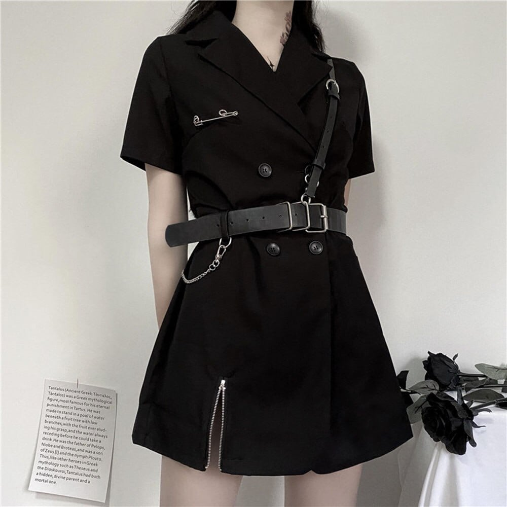 BLACK SHORT SLEEVE GOTH AESTHETIC BLAZER DRESS WITH BELTS