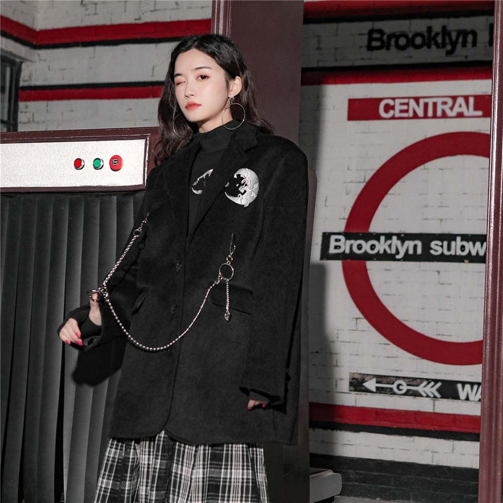 MOON PATCHWORK BLACK GOTH AESTHETIC BLAZER COAT WITH CHAIN