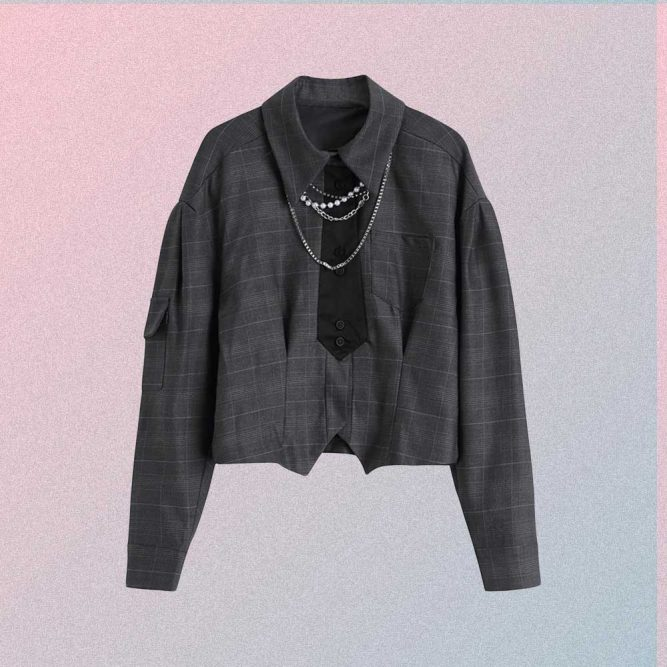 PLAID GRAY GOTH AESTHETIC SHORT BLOUSE WITH TIE NECKLACE CHAIN