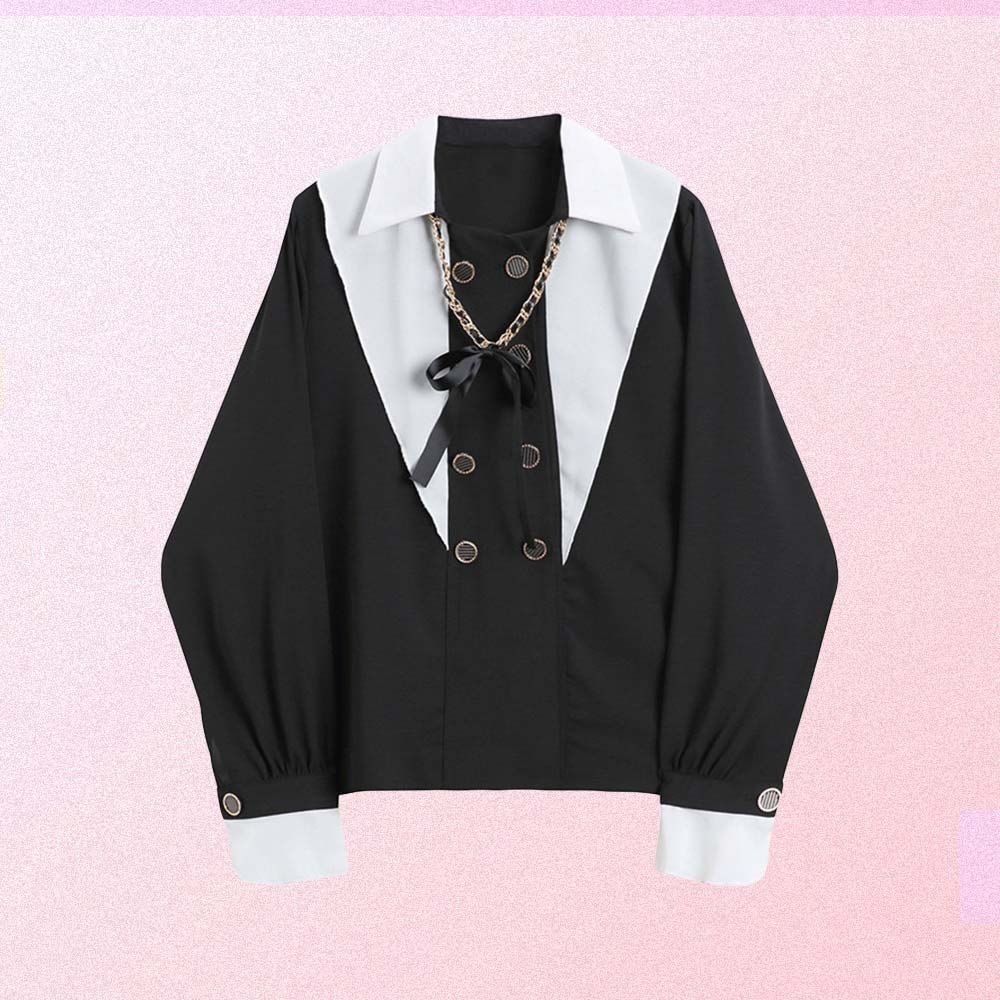 VINTAGE WHITE COLLAR BLACK BLOUSE WITH BOW CHAIN