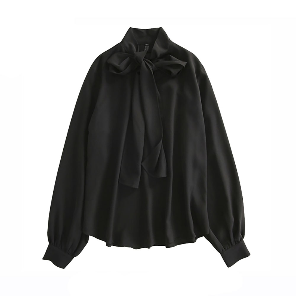 BLACK VINTAGE BLOUSE SHIRT WITH BOW TIE