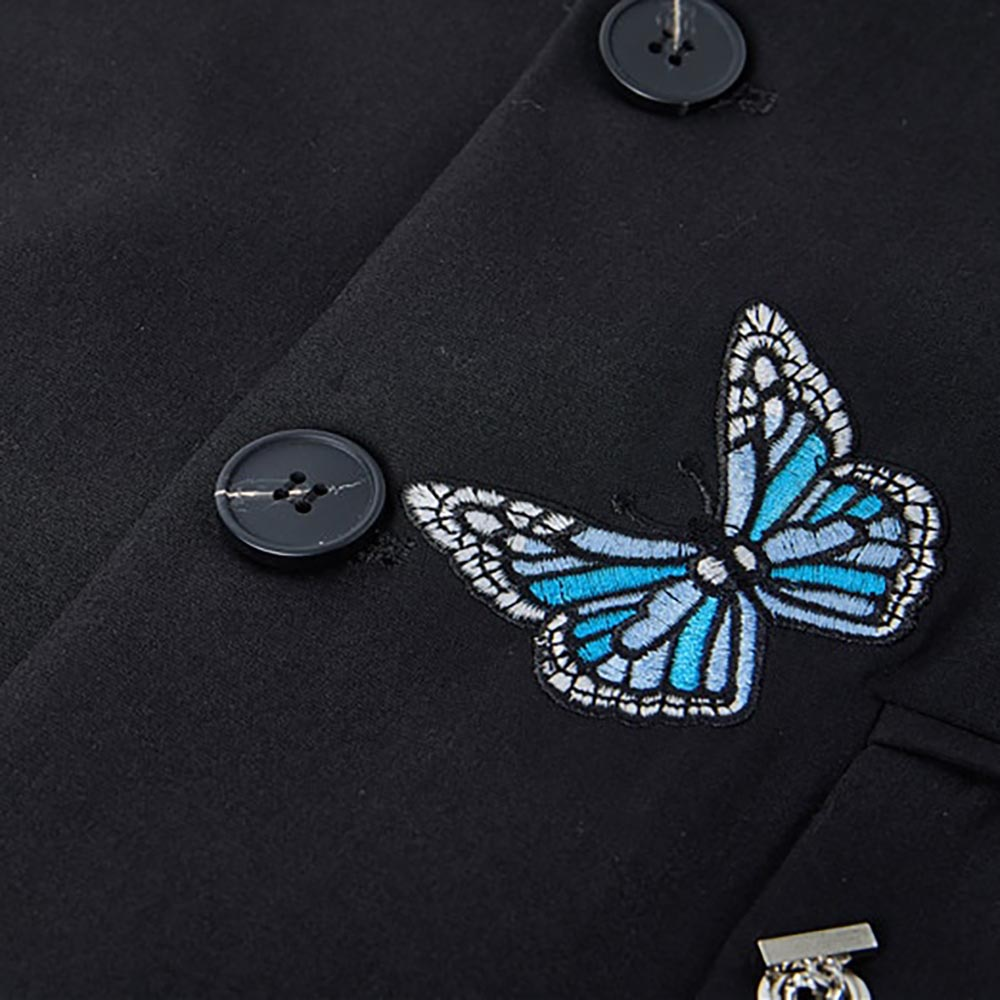 BUTTERFLIES EMBROIDERY BLACK BLAZER JACKET WITH CHAIN