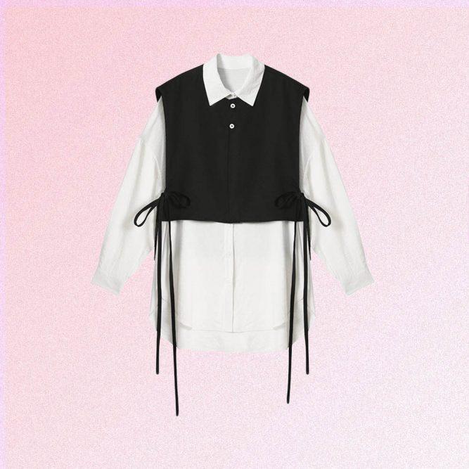 WHITE SHIRT & BLACK VEST 2in1 SET