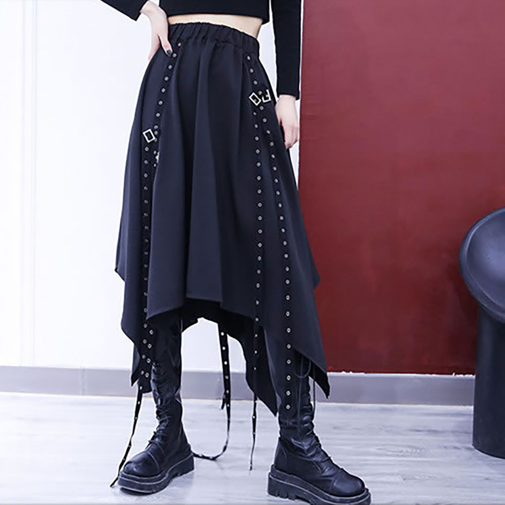 ASYMMETRIC LOOSE GOTH AESTHETIC SKIRT WITH STRAPS