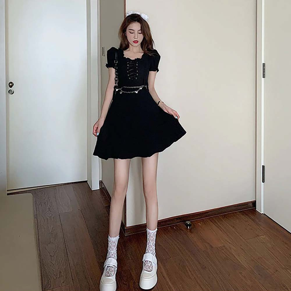 BLACK AESTHETIC LACE UP SHORT SLEEVE DRESS WITH BUTTERFLY CHAIN