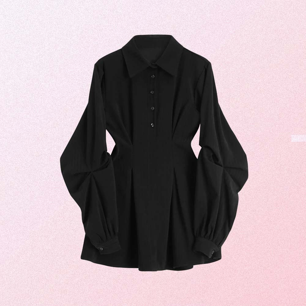 BLACK AESTHETIC LONG LOOSE SLEEVE FRENCH STYLE DRESS