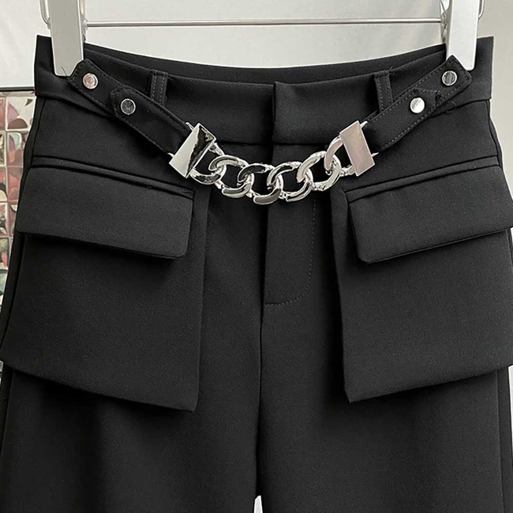 BLACK AESTHETIC LOOSE PANTS WITH POCKETS & CHAIN WAIST