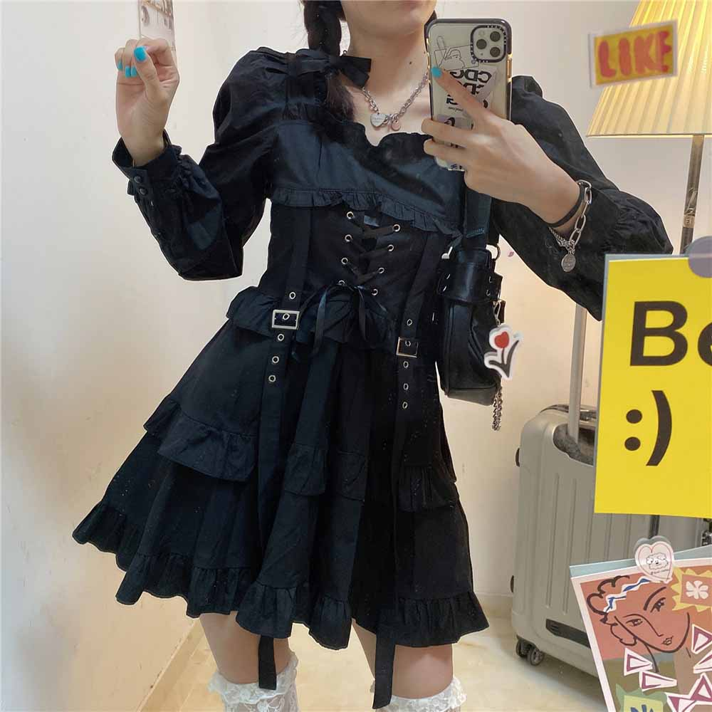 BLACK GOTH AESTHETIC LACE UP LONG SLEEVE DRESS WITH STRAPS