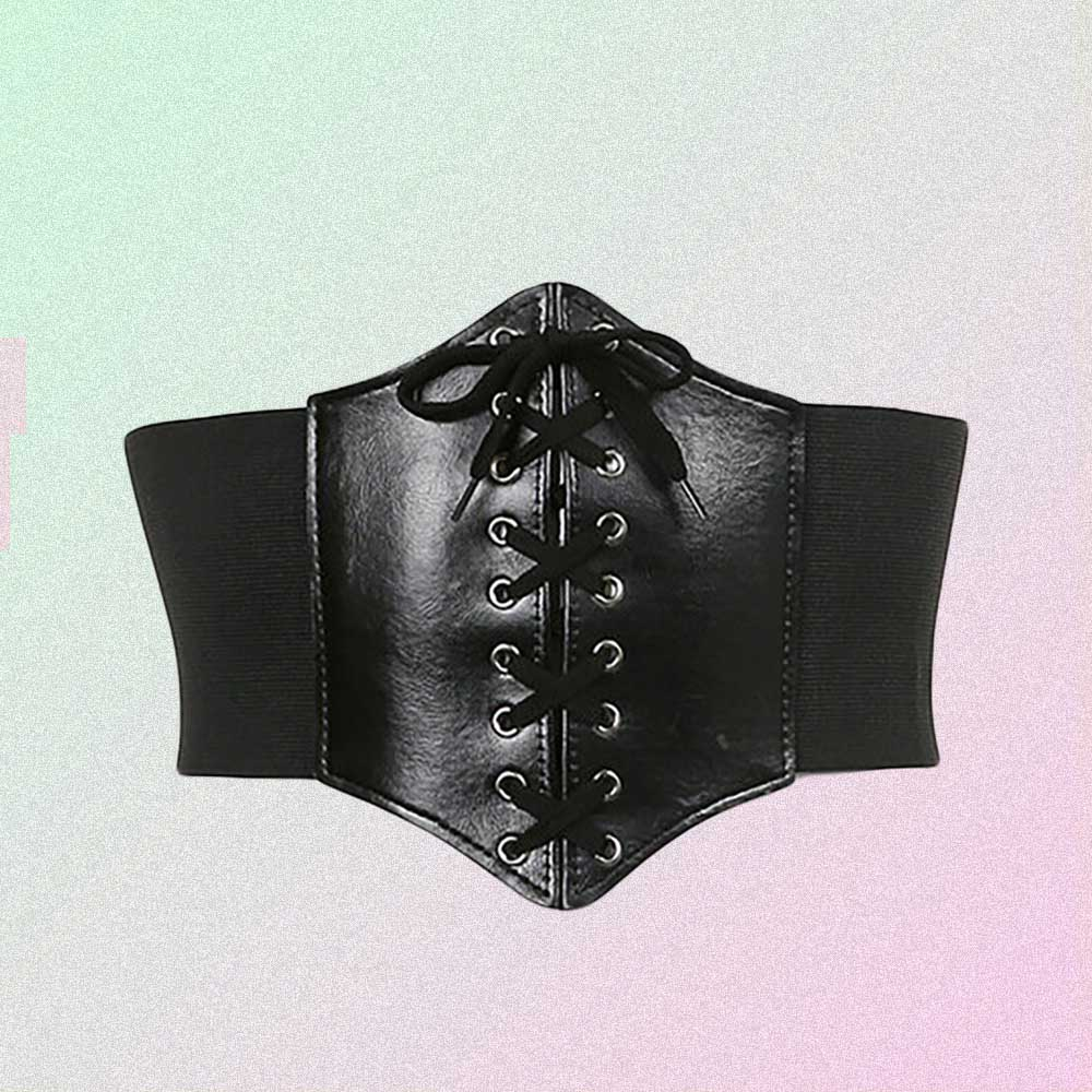 BLACK LACE UP GOTH AESTHETIC LEATHER CORSET