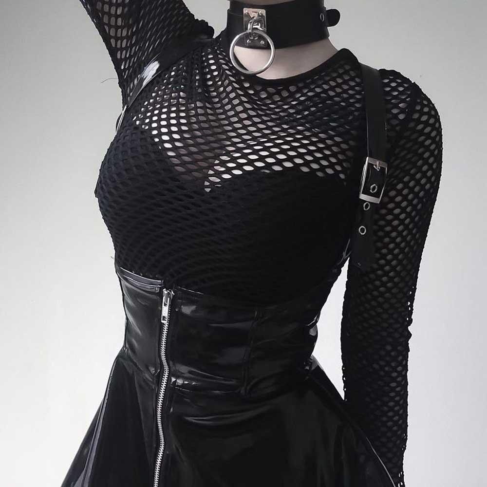 BLACK SLEEVELESS LATEX GOTH AESTHETIC DRESS