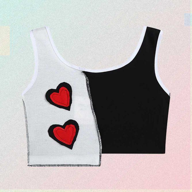 HEART PATCH ASYMMETRIC BLACK & WHITE CROP TOP