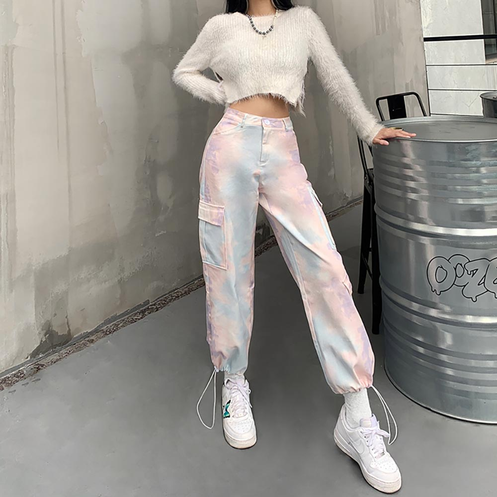 PASTEL TIE-DYE LOOSE PANTS WITH POCKETS