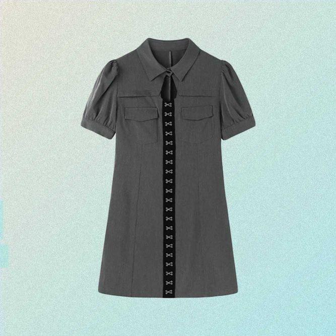 SLIM SHORT SLEEVE PREPPY STYLE SHIRT DRESS