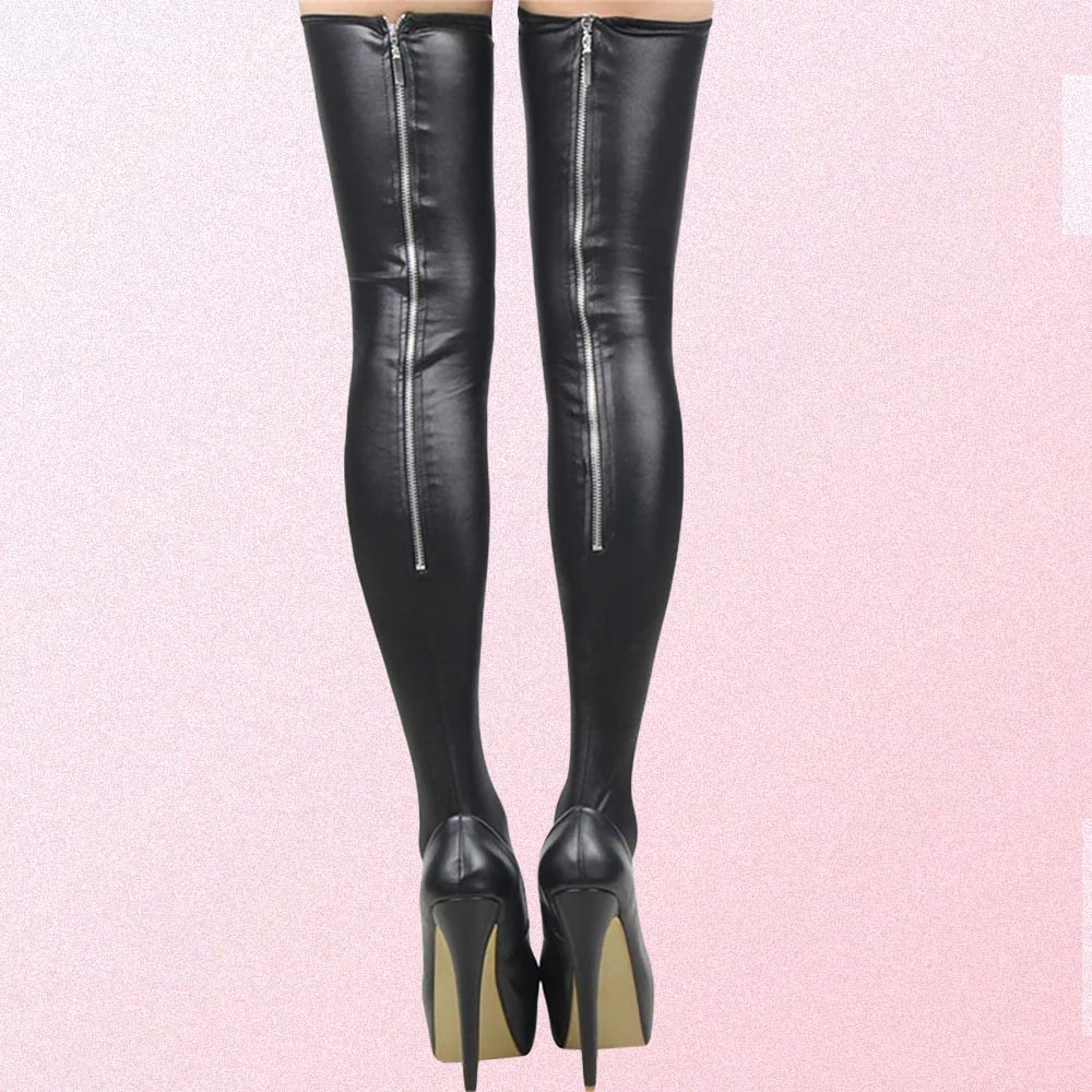 BLACK GOTH AESTHETIC LATEX STOCKINGS WITH ZIPPER