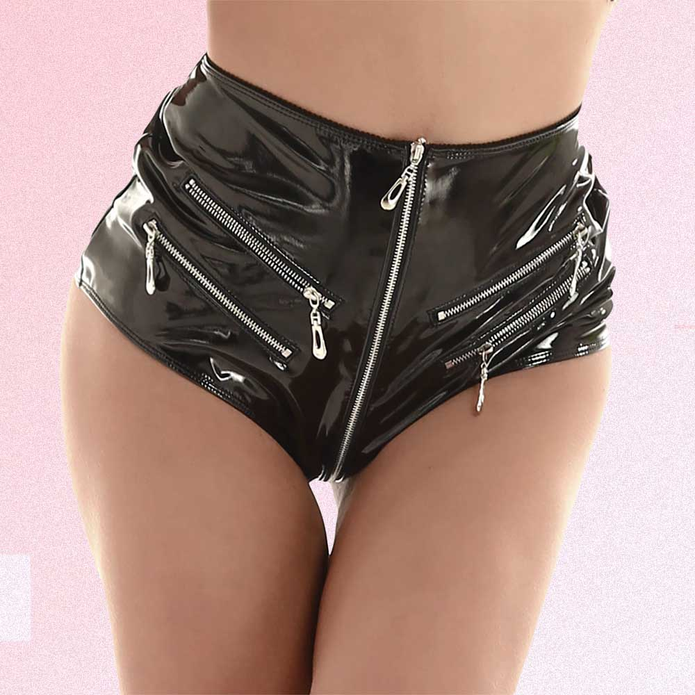 BLACK GOTH AESTHETIC LATEX TIGHT SHORTS WITH ZIPPERS (2)