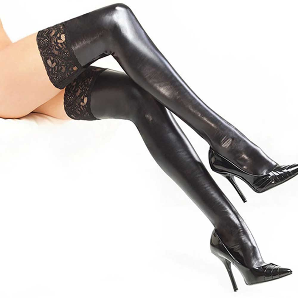 BLACK GOTH AESTHETIC SEXY LATEX LACE STOCKINGS
