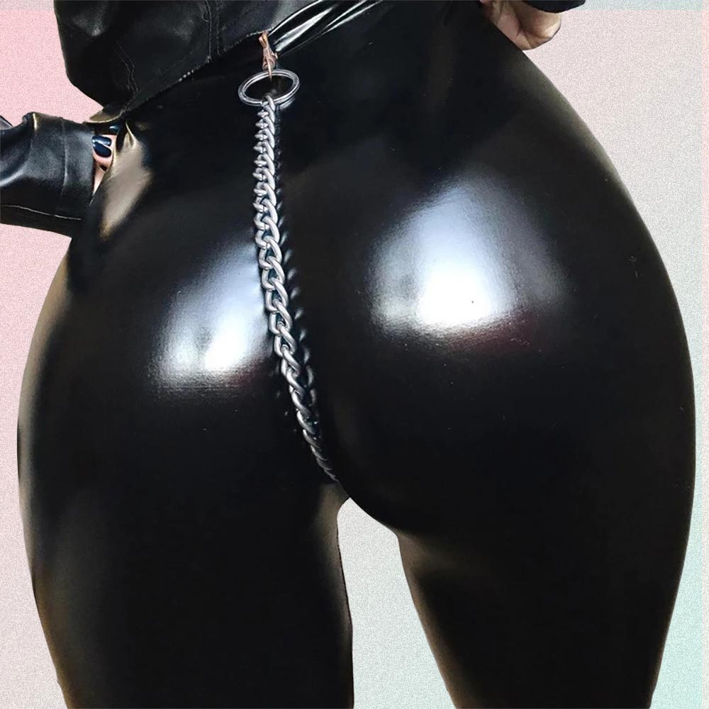 BLACK GOTH AESTHETIC SEXY LATEX TIGHT PANTS WITH CHAIN