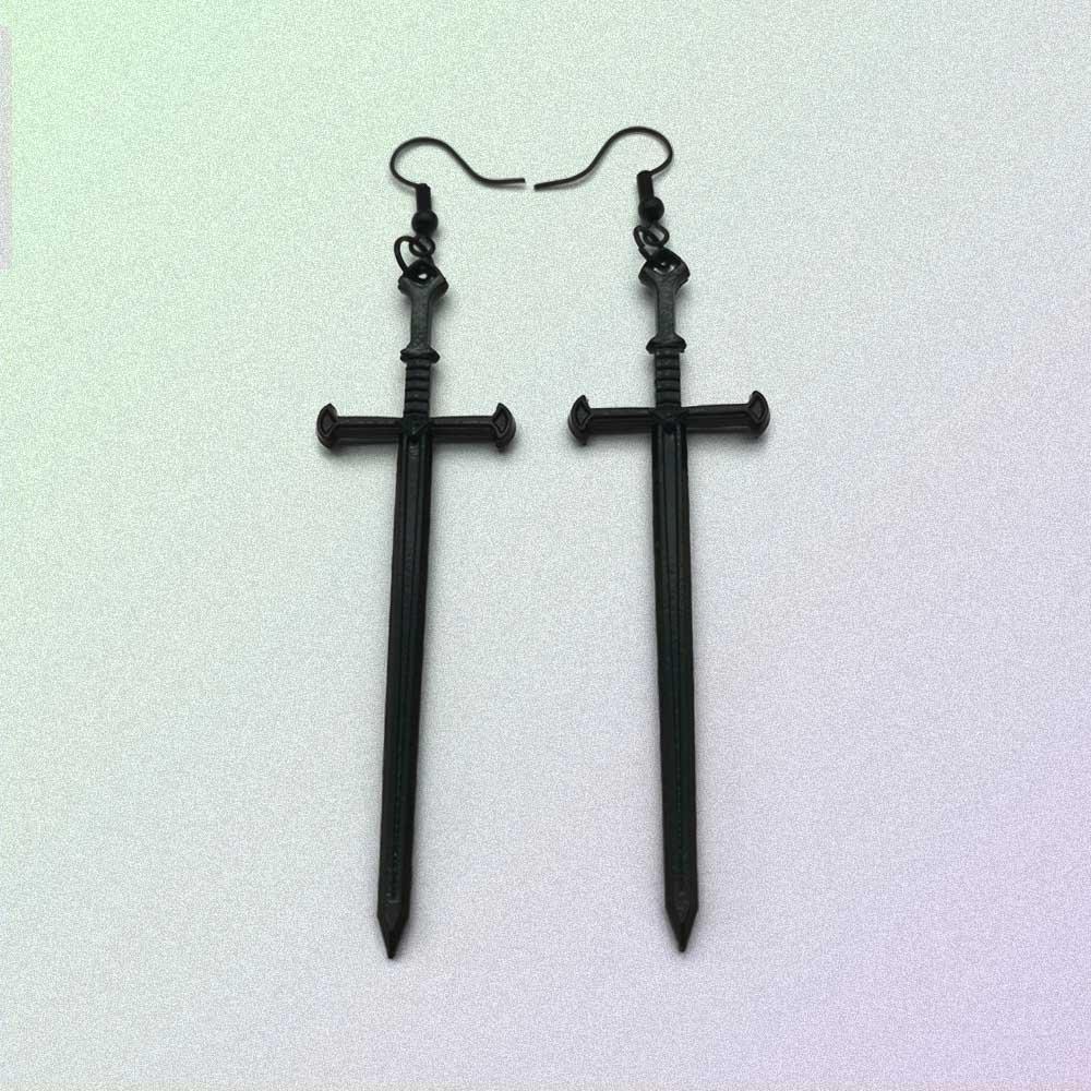 BLACK GOTH AESTHETIC SWORDS EARRINGS