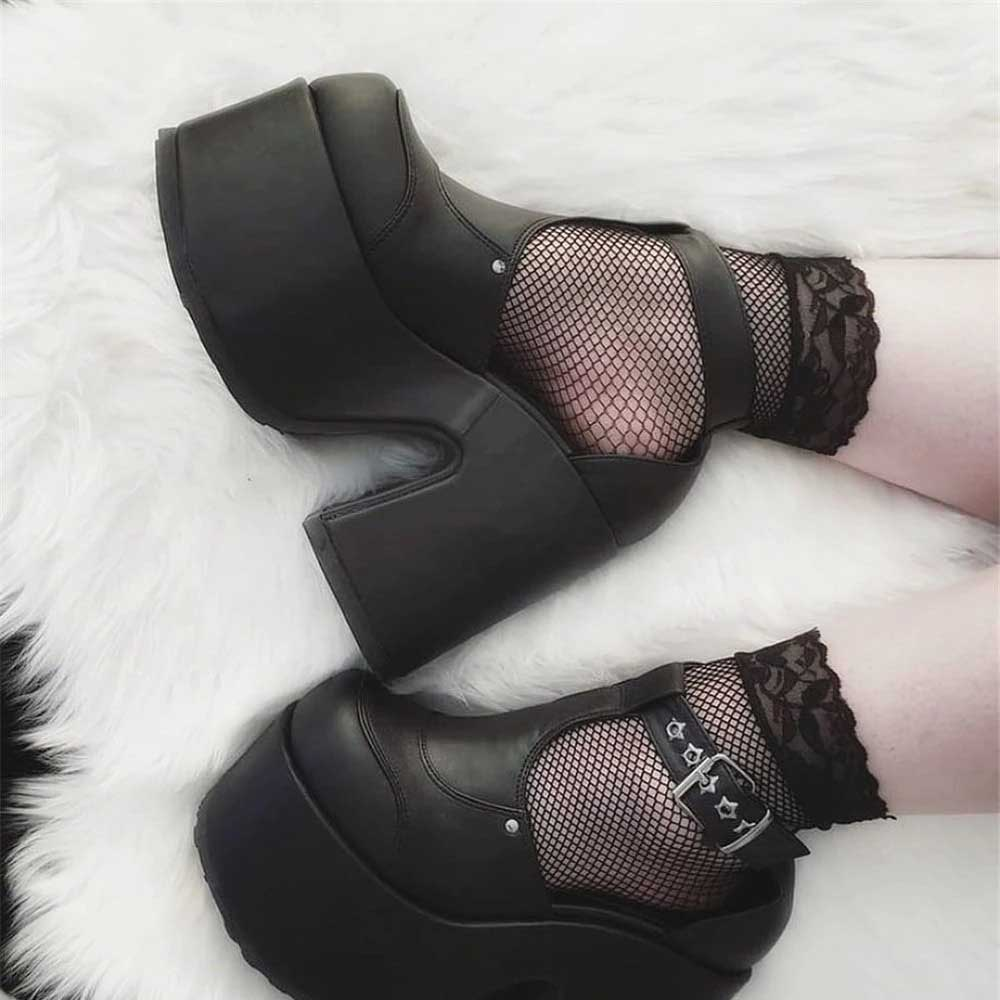BLACK HIGH ANKLE GOTH AESTHETIC STRAPPY SANDALS