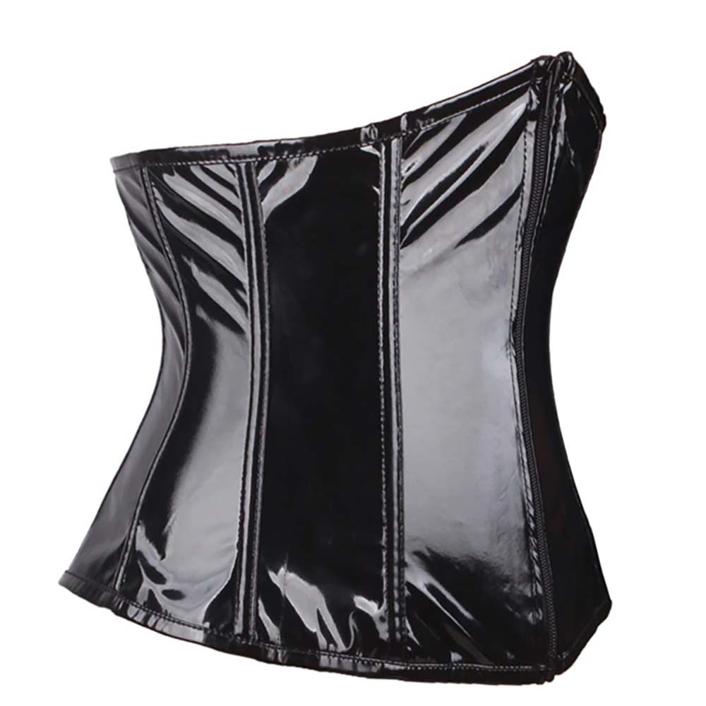BLACK LATEX GOTH AESTHETIC LACE UP AND ZIPPER CORSET