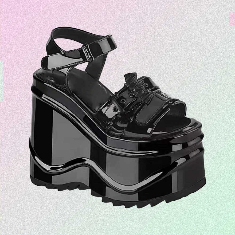 BLACK LATEX GOTH AESTHETIC PLATFORM SANDALS WITH CHAINS