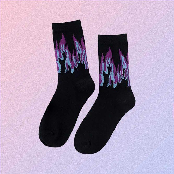 BLUE AND PURPLE FLAME BLACK PASTEL GOTH AESTHETIC SKATE SOCKS
