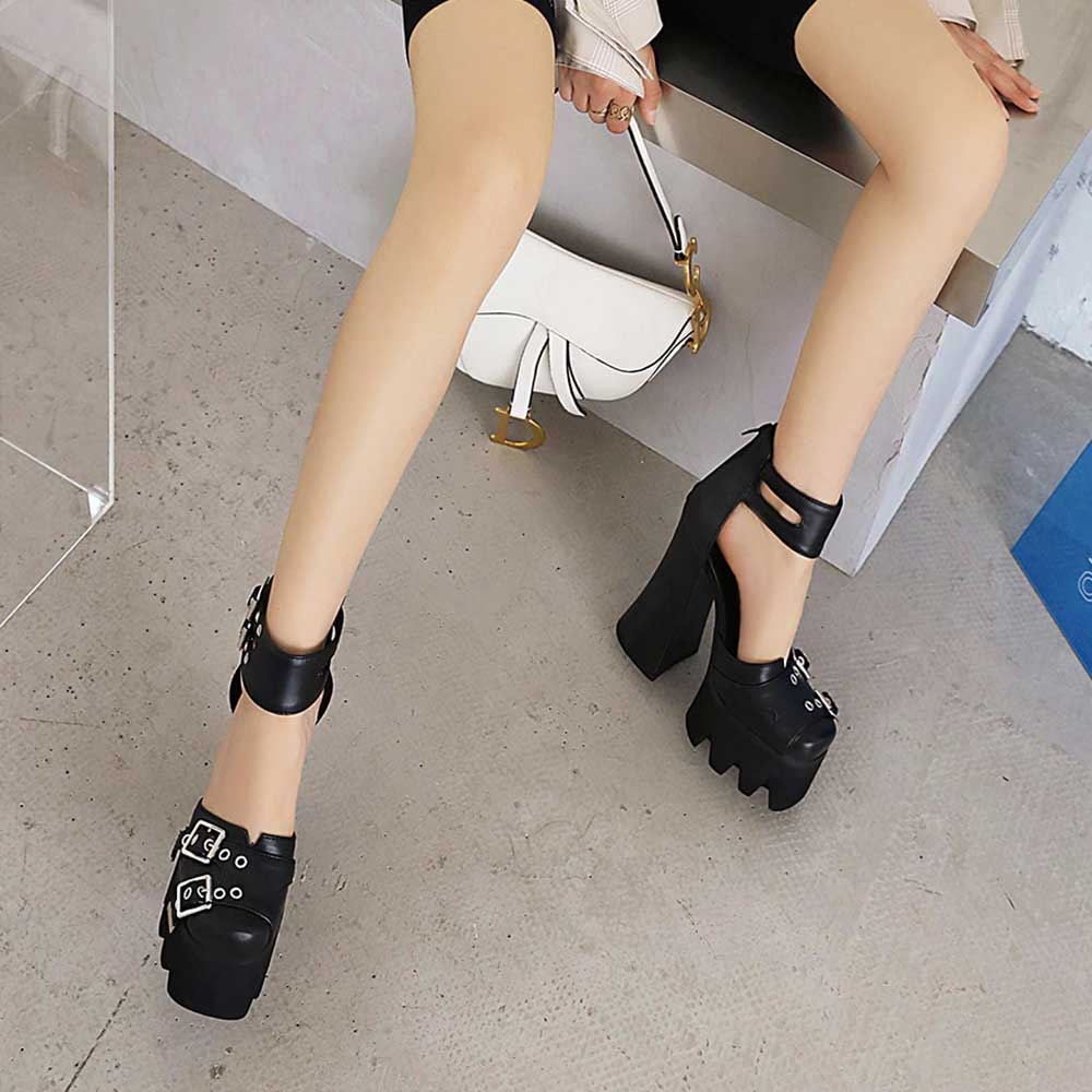 HIGH HEEL BLACK GOTH AESTHETIC STRAPPY SANDALS