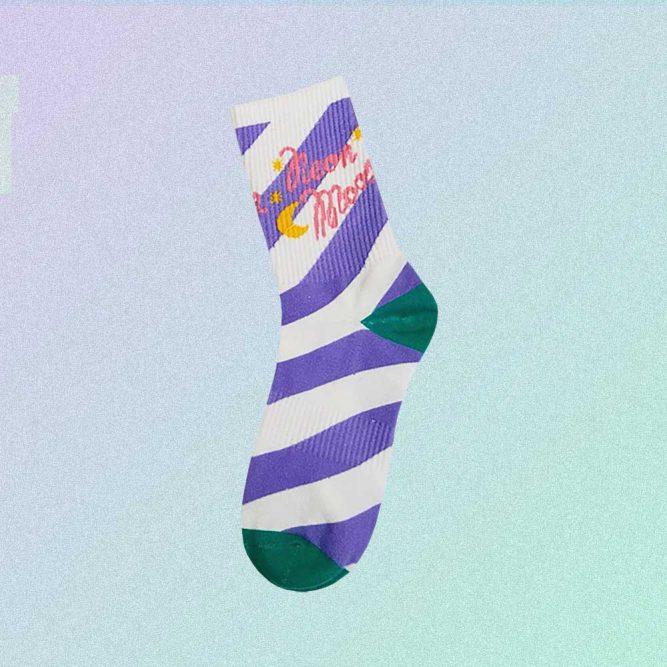 NEON MOON WHITE PURPLE STRIPED AESTHETIC SKATE SOCKS