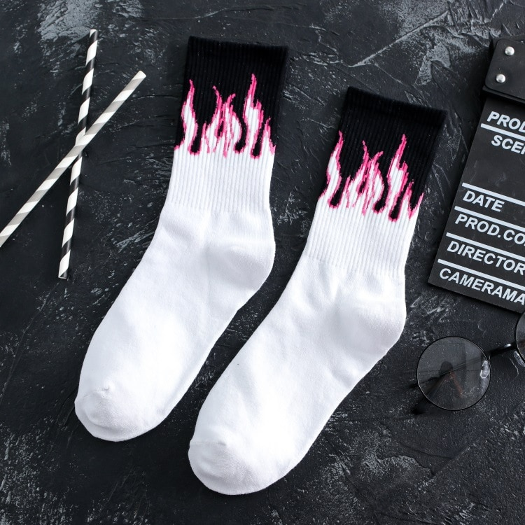 PINK FLAME WHITE PASTEL GOTH AESTHETIC SKATE SOCKS