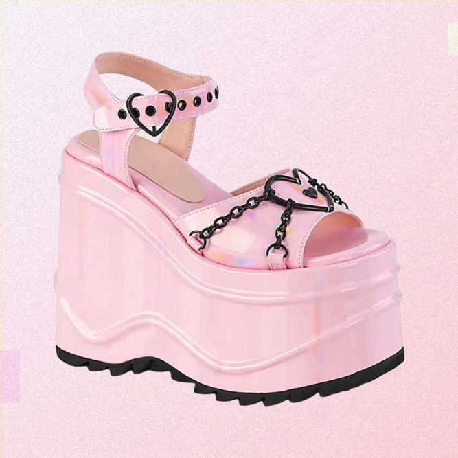 PINK LATEX PASTEL GOTH AESTHETIC PLATFORM SANDALS WITH CHAINS