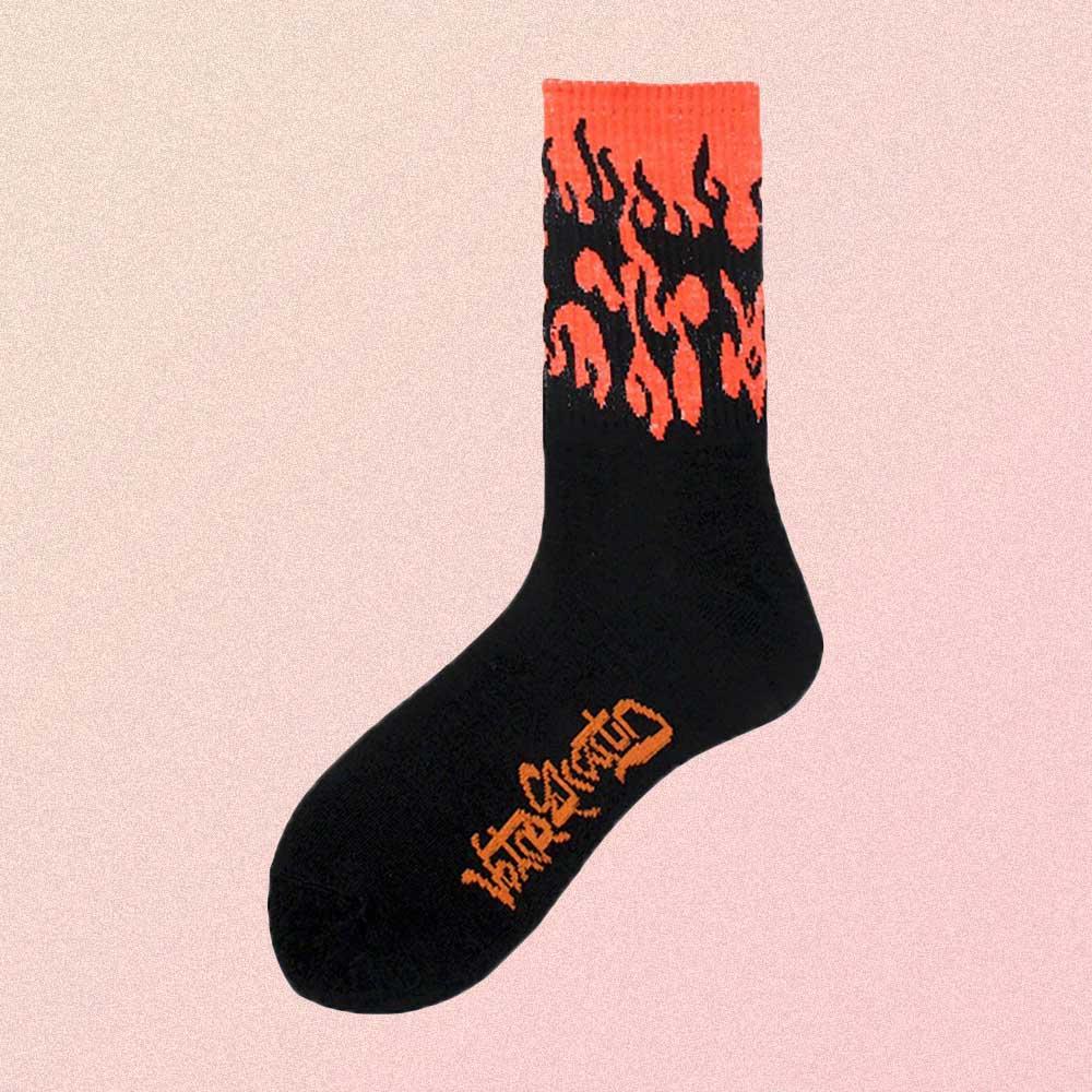 RED FLAME BLACK AESTHETIC SKATE SOCKS