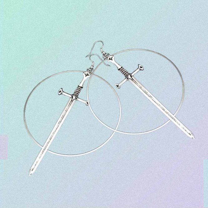 SILVER SWORDS AND CIRCLES GOTH AESTHETIC EARRINGS